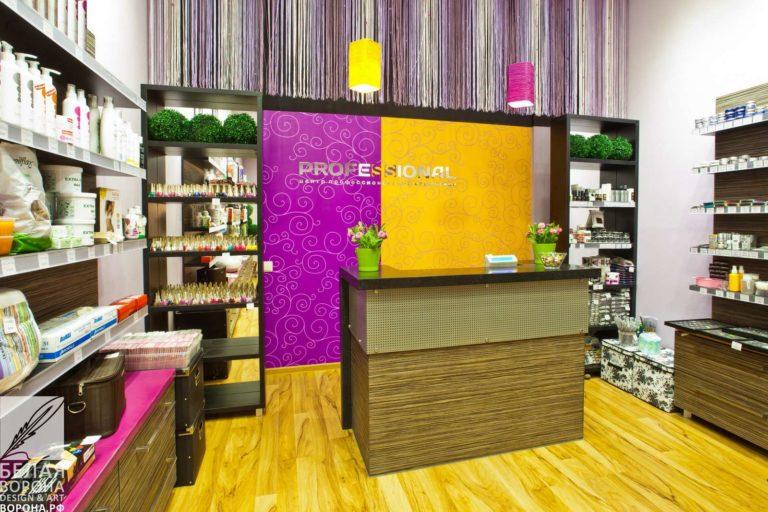 Интерьер магазина косметики для коммерческого интерьера