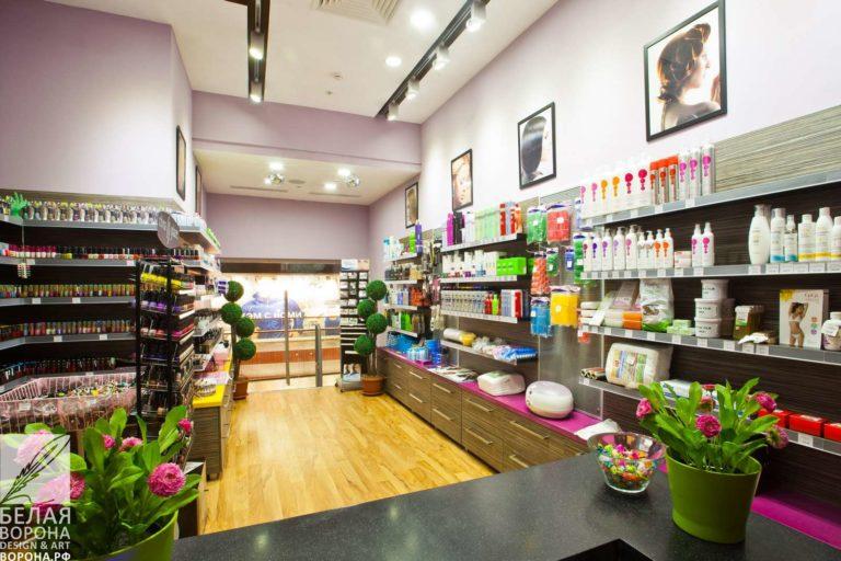 Пространство коммерческого помещения для продукции магазина косметики профессионал