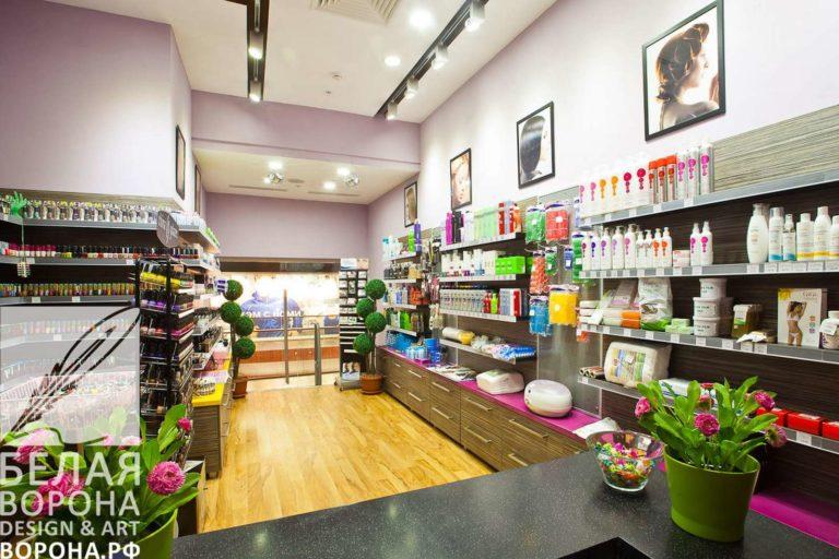 """Осветительные приборы и выбор потолка в магазине косметики """"Профессионал"""""""