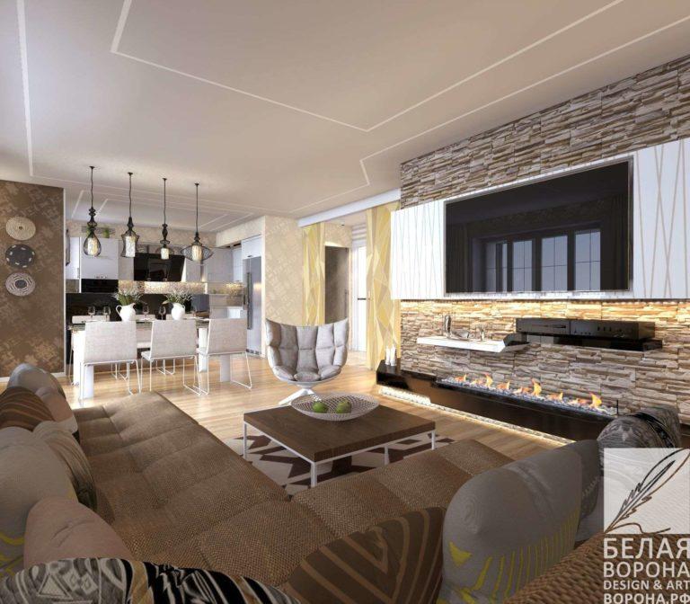 Дизайнерский проект гостинной в светлых и нейтральных тонах