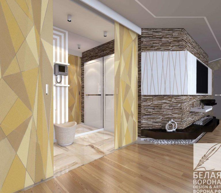 Дизайн-проект с сдекоративным элементом разделяющим пространство