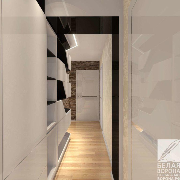 Дизайн-проект коридора в светлых тонах с фактурным элементом