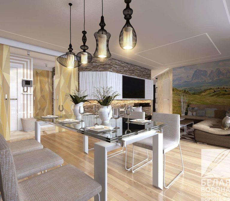 Столовая совмещённая с кухней и гостинной в светлых тонах с использованием фотообоев в интерьере
