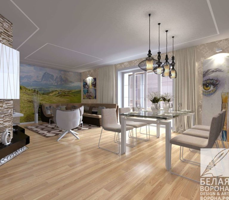 Светлая гостинная совмещённая со столовой пастельные тона