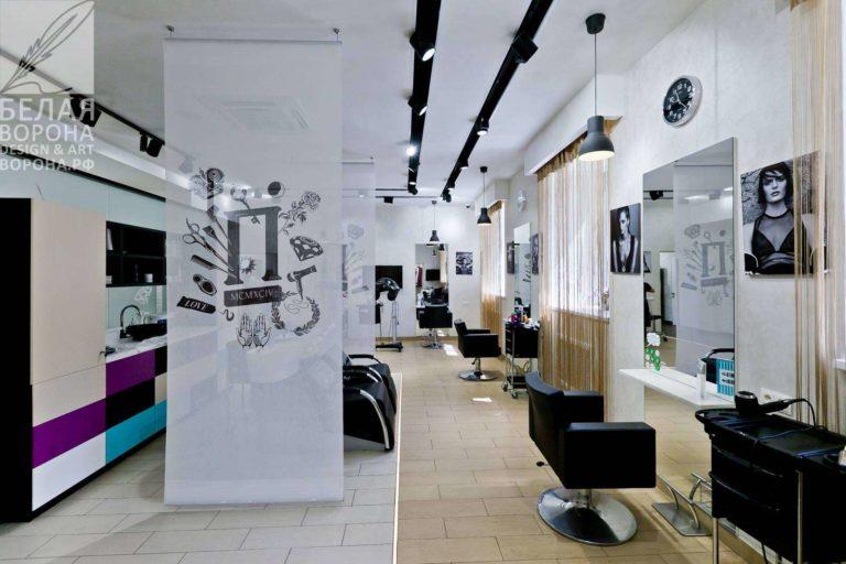 Дизайнерский проект интерьера зала для стрижки для косметологии