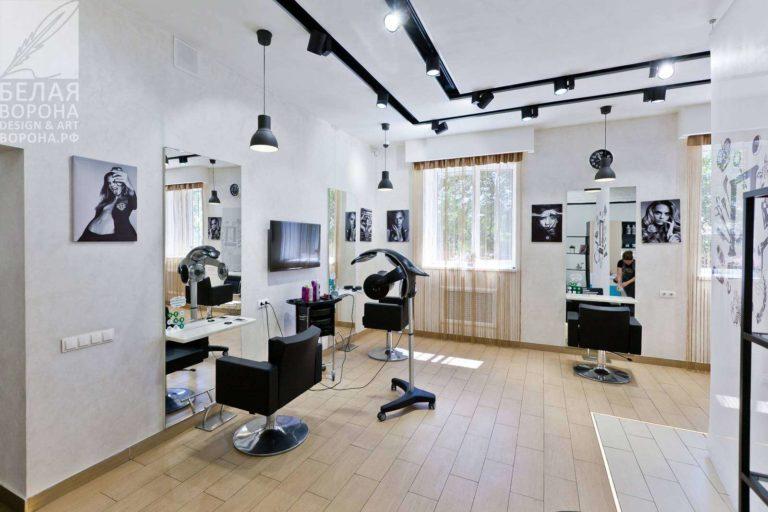 интерьер зала для стрижки в косметологическом салоне по дизайнерскому проекту