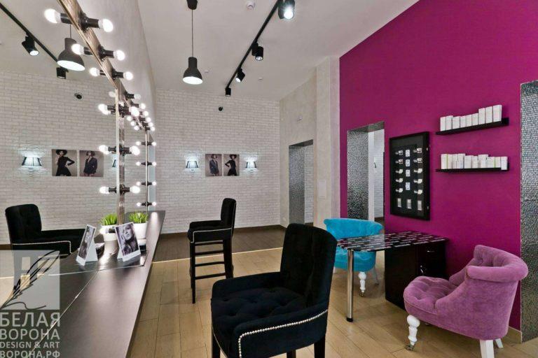 дизайнерский проект зала для стрижки с ярким цветовым акцентом