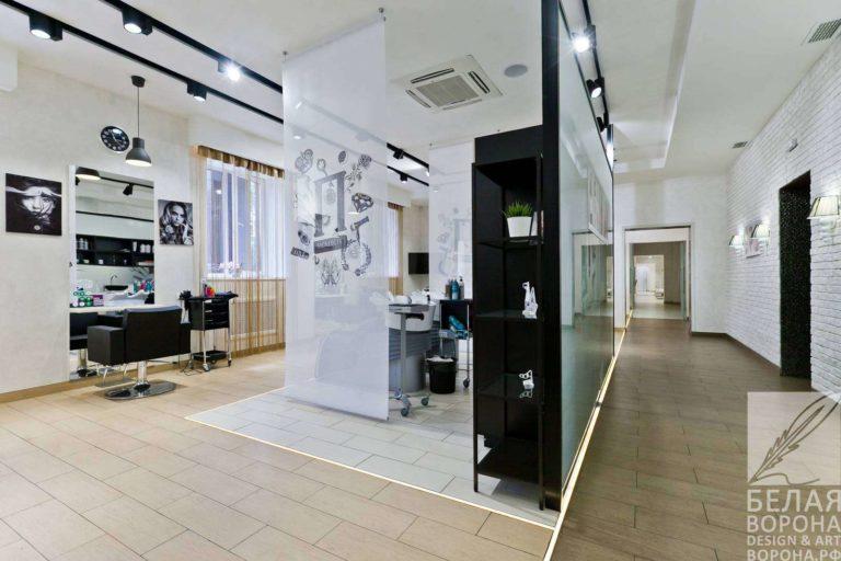 Разграничение пространства в косметическом салоне по современному дизайн-проекту