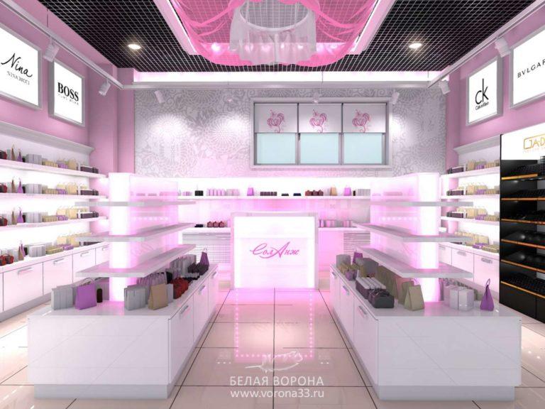 Внутреннее пространство торгового зала. дизайн-проект