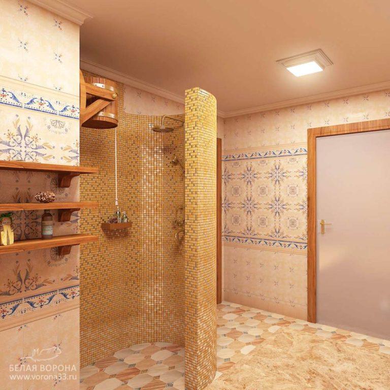 интерьер душевой банного комплекса 1