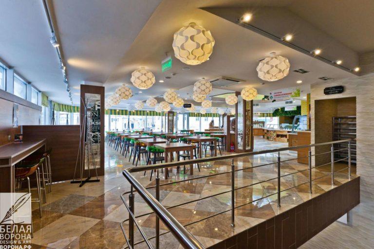Зал ресторана самообслуживания в современном дизайне