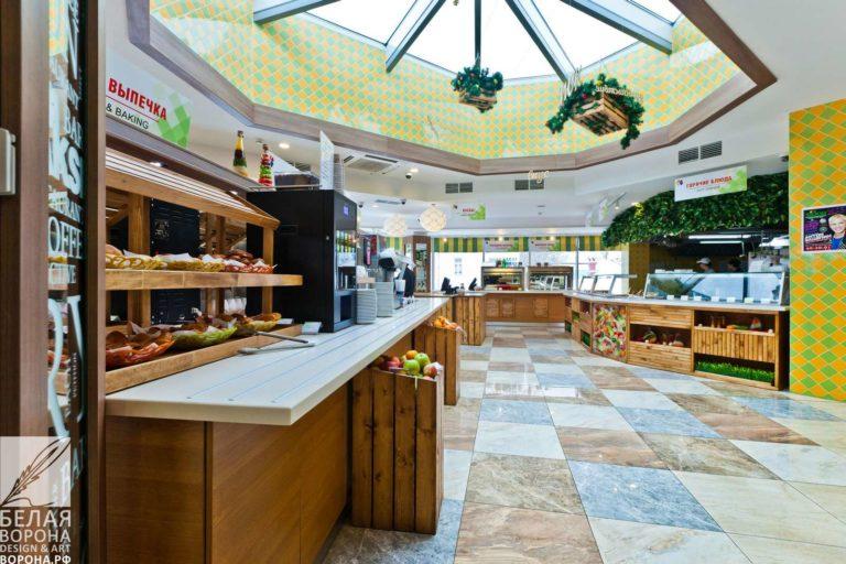 Зал для самообслуживания в ресторане по современному дизайн-проекту