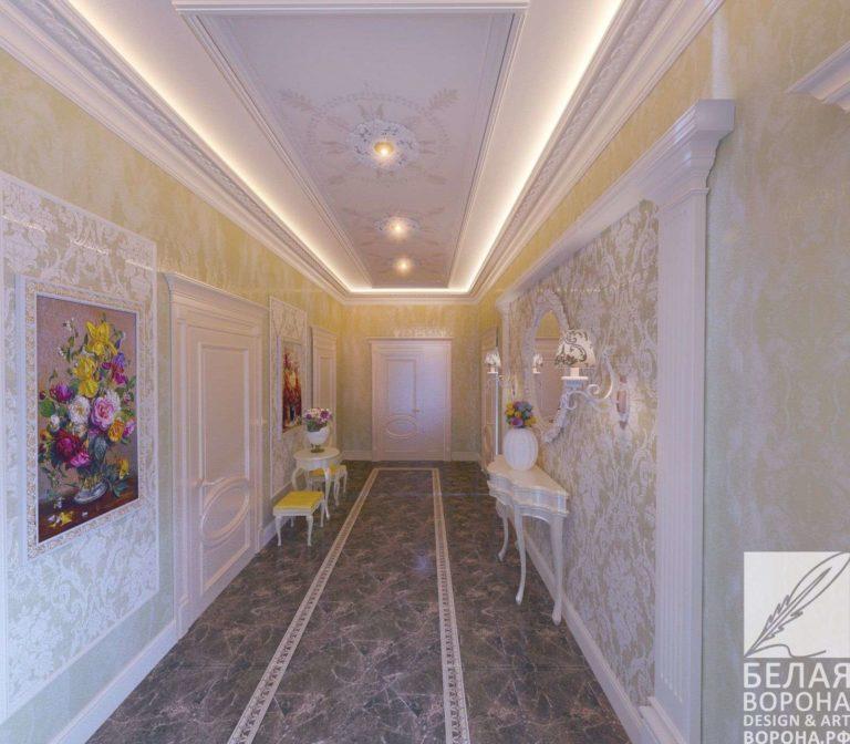 дизайн интерьер просторной квартиры в светлых тонах Просторный холл в светлых тонах