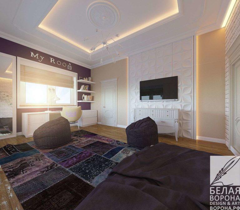 дизайн интерьер спальни в контраста тёплых и холодных цветов