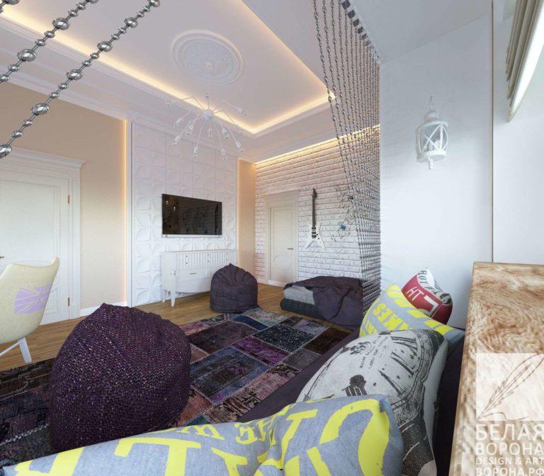 дизайн интерьер спальни в классическом стиле с резким контрастов цветов