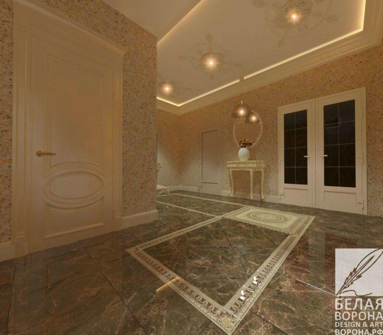 дизайн интерьер квартиры в современном стиле в контраста тёплых и холодных цветов