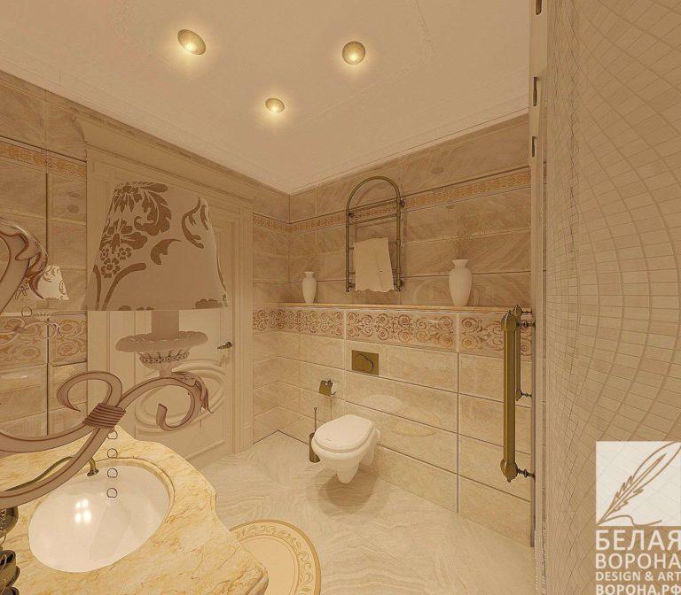 дизайн проект ванной в с применением лёгких цветовых акцентов