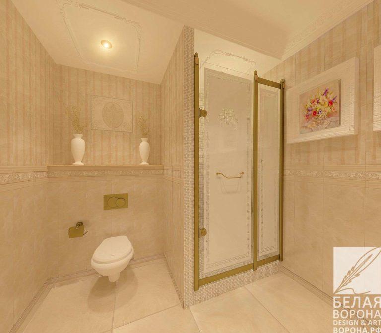 дизайн интерьер ванной совмещённой с санузлом в современном интерьере