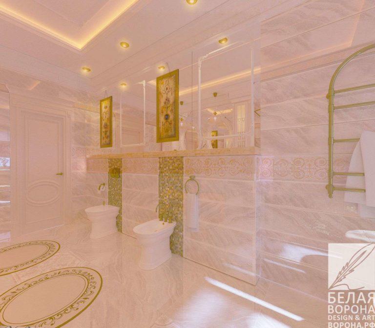 Просторное светлое помещение в современном классическом дизайне интерьера