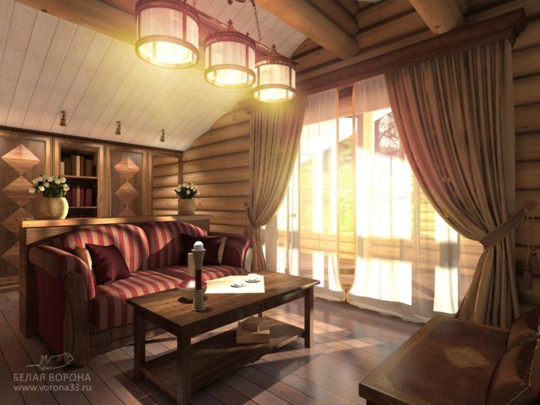 дизайн интерьер гостиной в элегантном стиле в тёмной гостинной