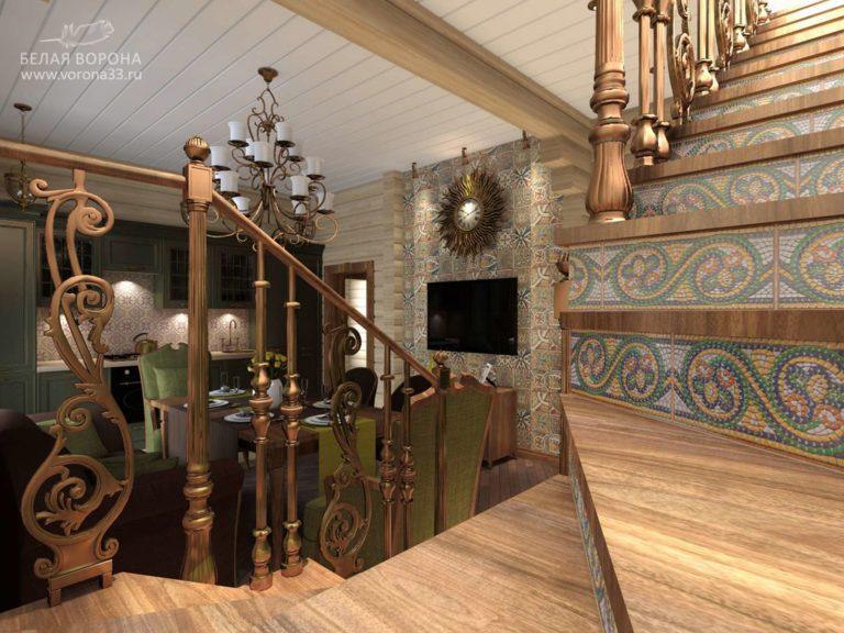 дизайн проект холла второго этажа в контраста тёплых и холодных цветов и использование натуральных материалов