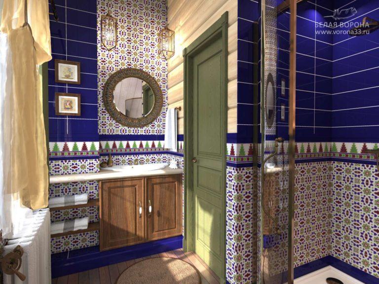 дизайн проект ванной в контексте ярких цветовых пятен