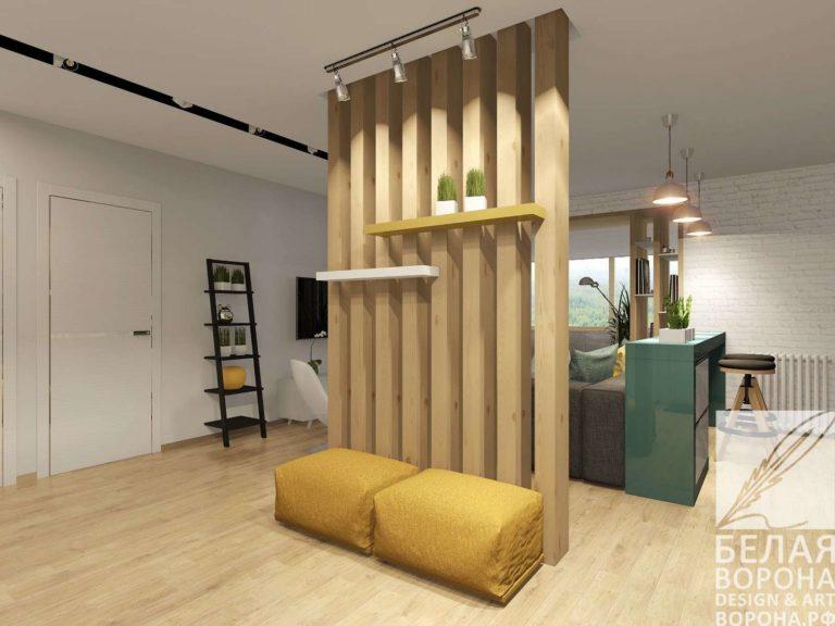 Перегородка отделяющая стену в современном дизайне интерьера