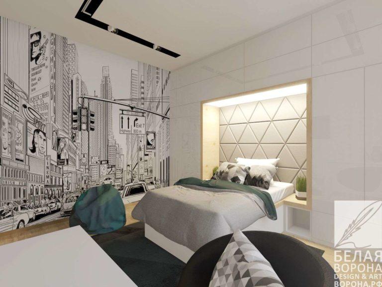 Спальня с применением ярких изумрудных цветовых элементов