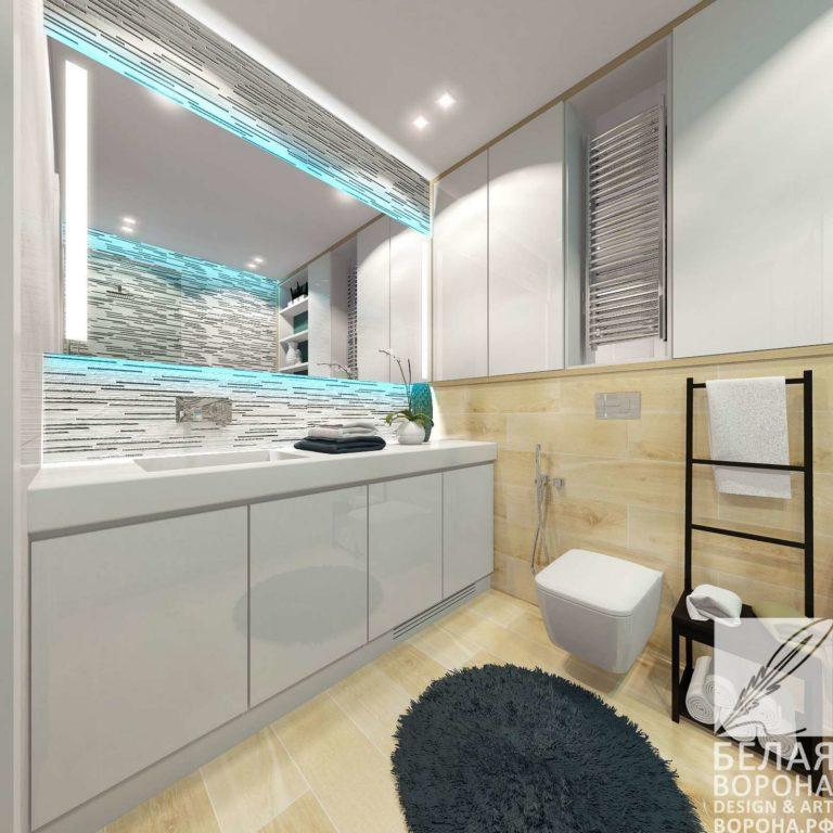 Совмещённые ванная комната и санузел. Современные дизайнерские проекты в светлых тонах