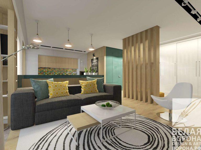 Гостинная в современном интерьере с применением дизайнерских элементов таких как стол стиля баухаус