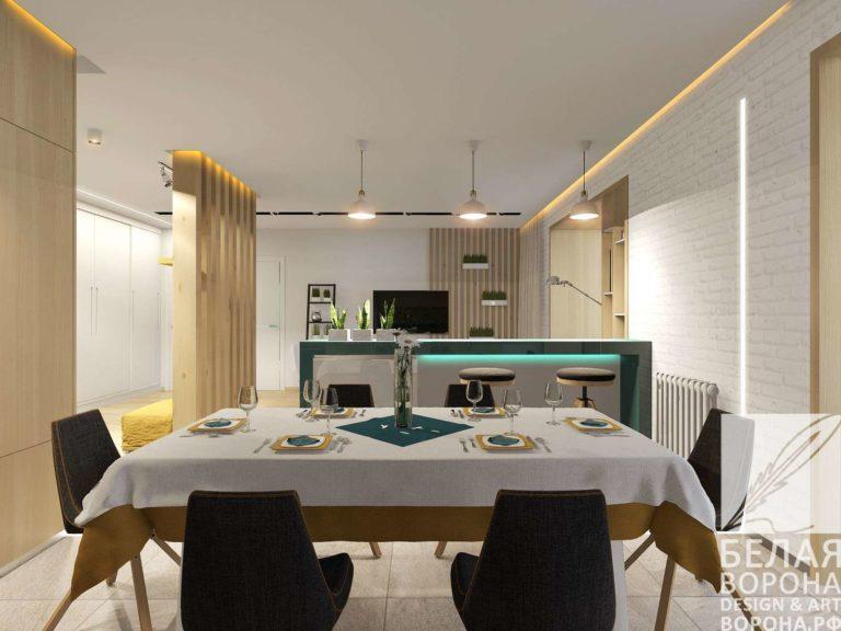 Столовая совмещённая с гостинной в современном дизайне интерьера 2020