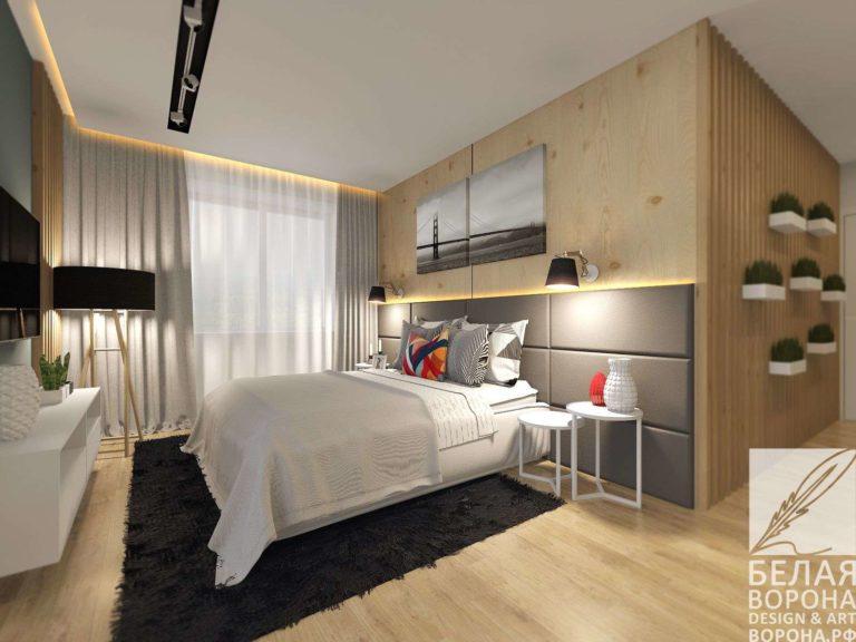 Спальня выполненная в сочетании контраста нейтральных цветов