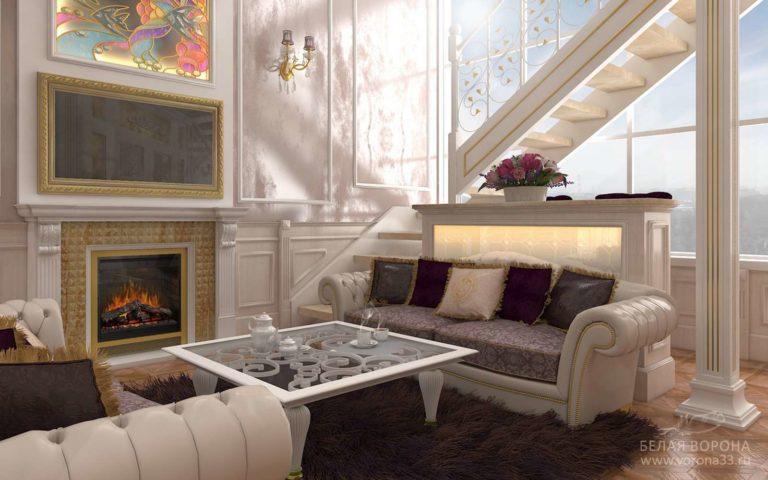 Просторная гостиная в стиле неоклассика