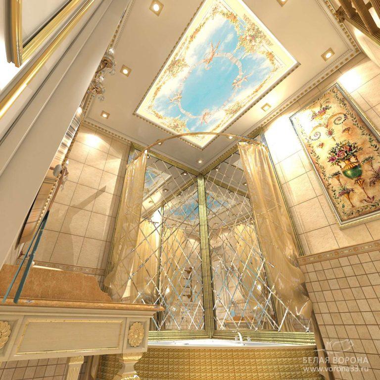 дизайн проект ванной в применением резкого контраста