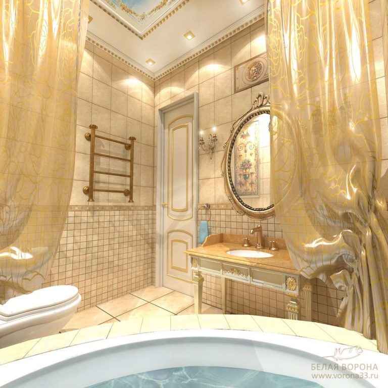 дизайн проект ванной в контраста тёплых и холодных тонов