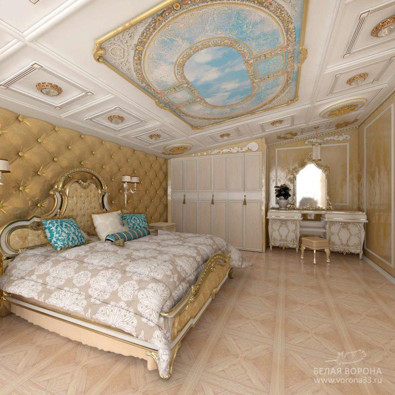 дизайн интерьер спальни в с применением золотистых элементов