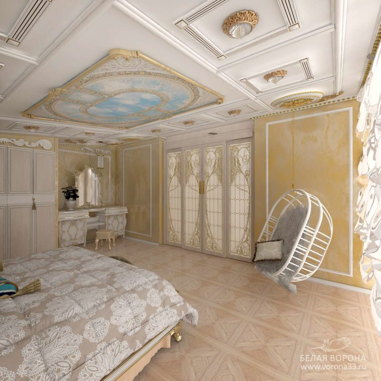 дизайн интерьер спальни в с применением лёгких цветовых акцентов