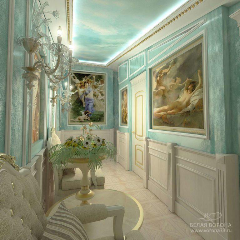 дизайн интерьер холла с элементами стиля неоклассика