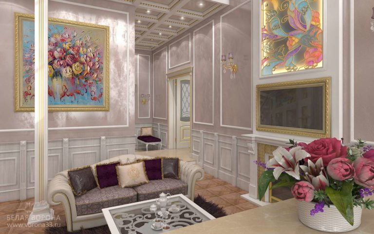 дизайн проект гостиной в контраста тёплых и холодных тонов