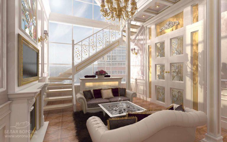 дизайн интерьер квартиры в современном стиле в с применением золотистых элементов Гостинная в стиле неоклассика