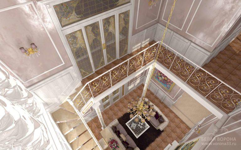 дизайн проект гостиной в с применением золотистых элементов