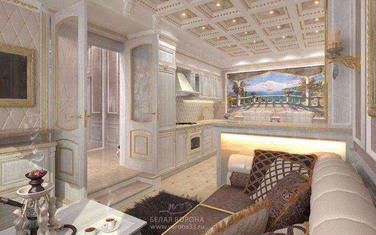 дизайн интерьер просторной квартиры в современном стиле