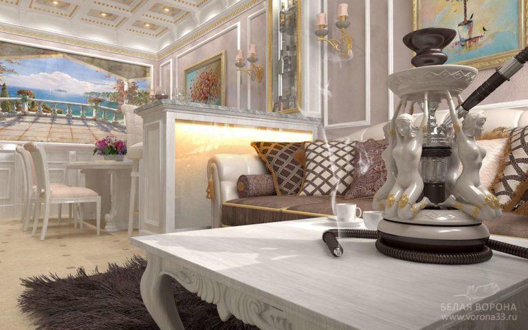 дизайн интерьер гостиной в с применением лёгких цветовых акцентов