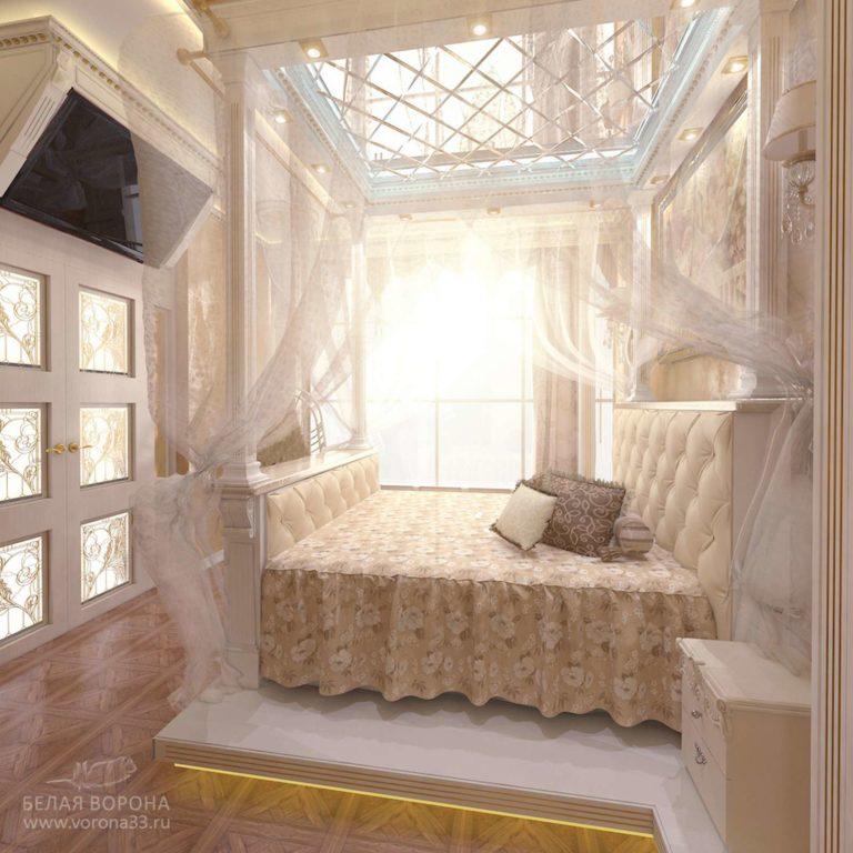 дизайн интерьер спальни в современном стиле в с применением лёгких цветовых акцентов