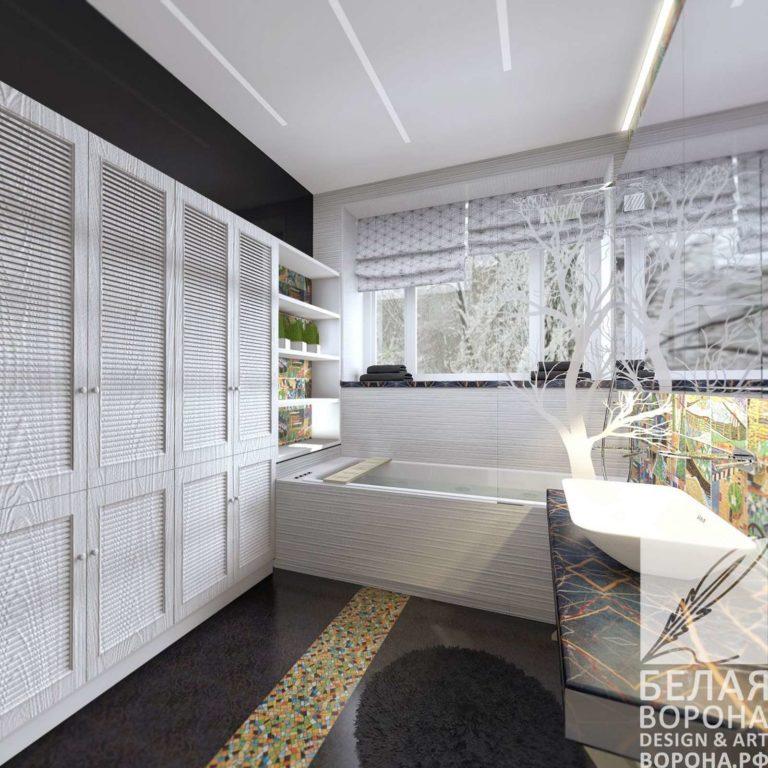 дизайн интерьер ванной в современном стиле в с применением лёгких цветовых акцентов