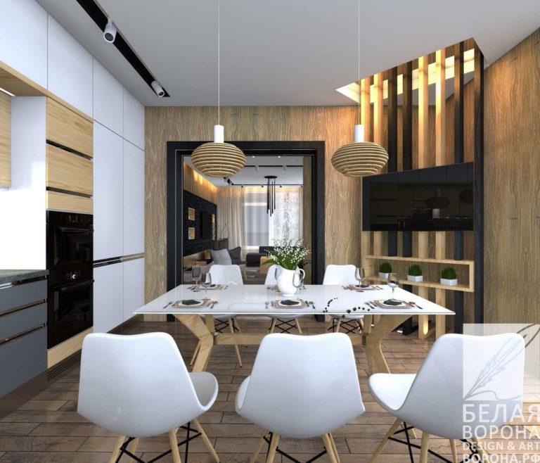 дизайн интерьер столовой в светлых тонах Мебель для столовой