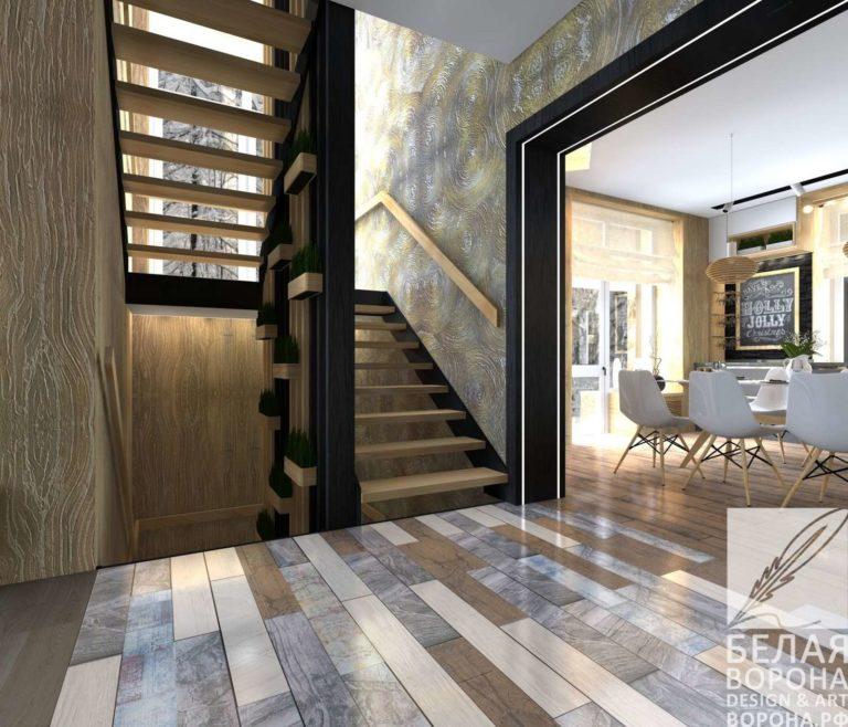 дизайн интерьер просторной квартиры в контраста тёплых и холодных цветов