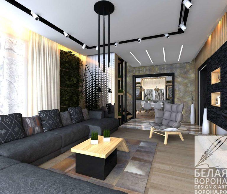 дизайн интерьер гостиной в с применением лёгких цветовых акцентов в пределах нейтральной цветовой гаммы