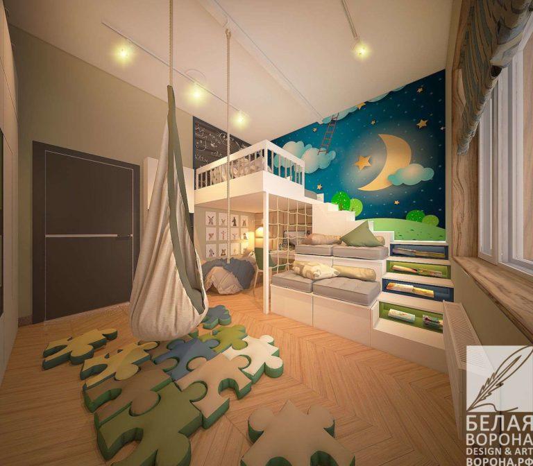 дизайн интерьер квартиры в с применением лёгких цветовых акцентов Спальня с оттенками зелёного голубого в нейтральной гамме
