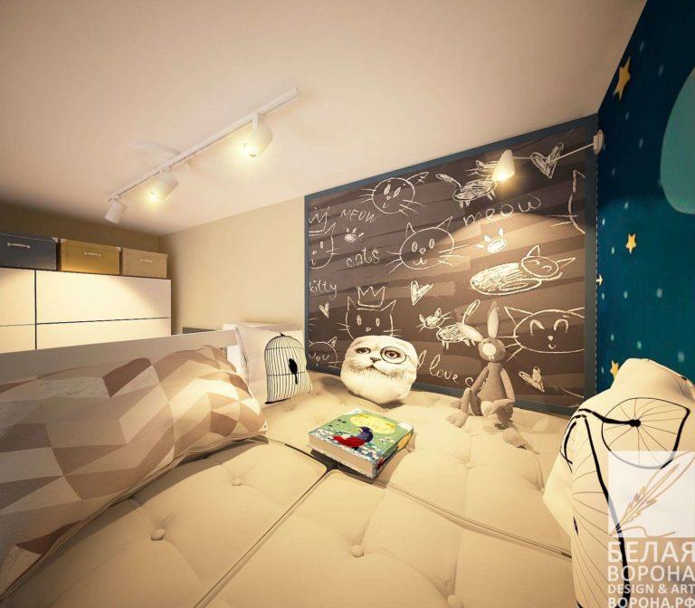 дизайн интерьер спальни в применением резкого контраста